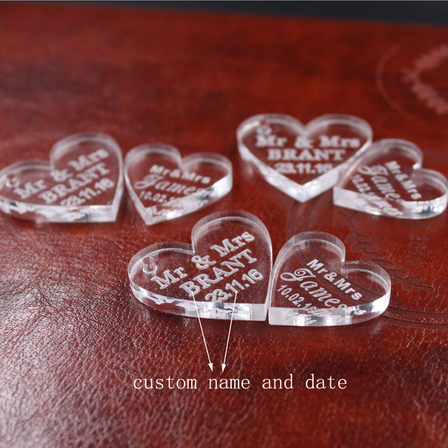 100 Pcs Customized Crystal Heart Personalized MR MRS Love Wedding Souvenirs Table Decoration Centerpieces Favors