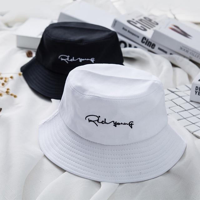 07803b9e2f Brand Embroidery Letter Bucket Hat For Women Men Fashion Bob Caps Hip Hop  Caps Unisex Cotton Caps Beach Sun Fishing Bucket Hat