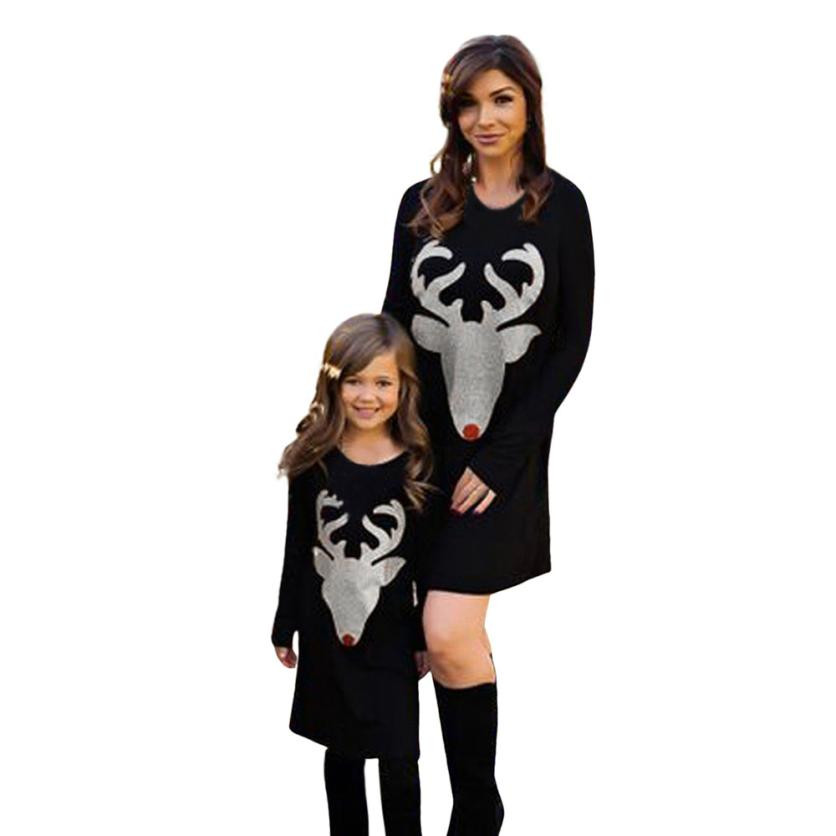 ISHOWTIENDA family christmas pajamas Deer Print Long Sleeve Dress matching Outfits dresses mom and daughter equal Family Costume