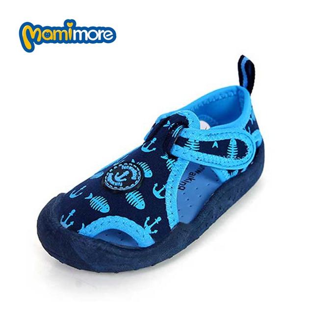 Mamimore Мальчики Пляжные Сандалии Обувь Цветок Детские Сандалии Для Девочек Дышащая Обувь из ткани Мягкой Резины Дети Открытые Горячие
