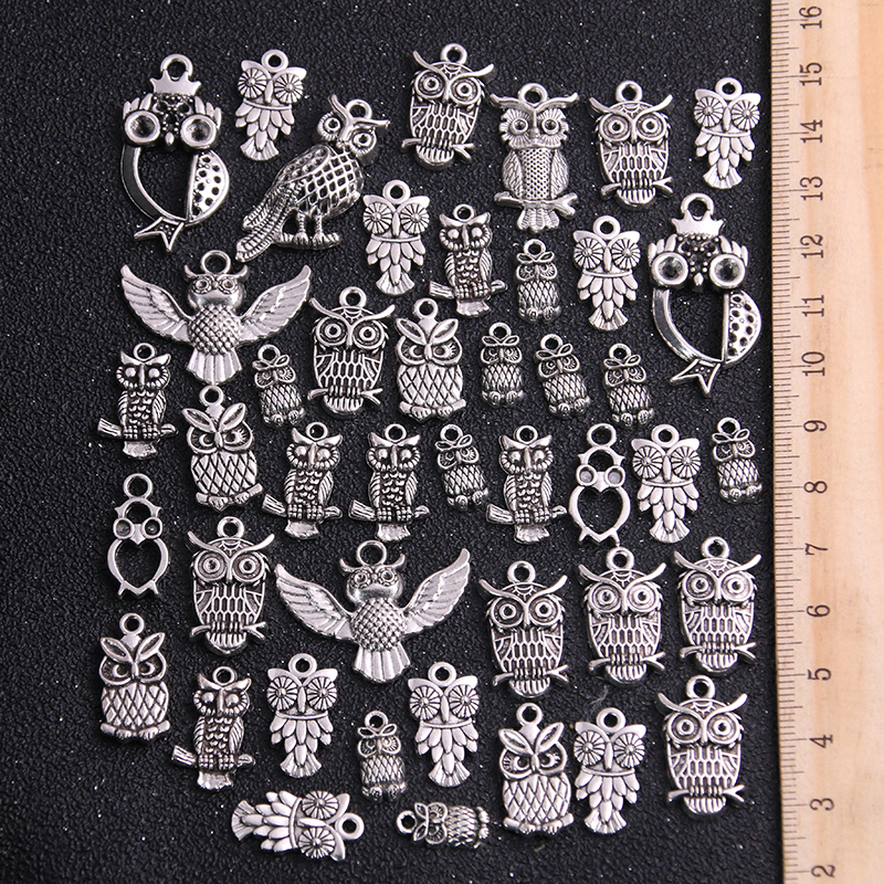 20pcs Vintage Metal Mixed Two color Random Owl Charms Animal Pendants For Jewelry Making Diy Handmade Jewelry 1
