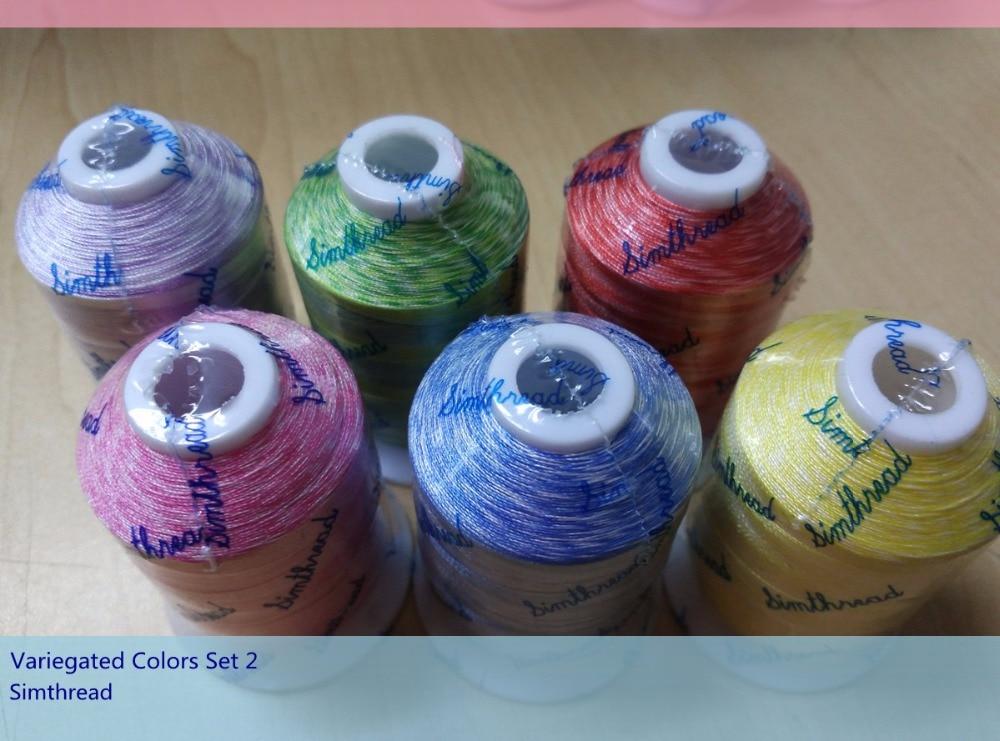 Set # 2: Simthread 6 Colors Variegated Fije qëndisje / fije qepjeje për shumicën e makinerive të qepjes në shtëpi 1000 metra Secila