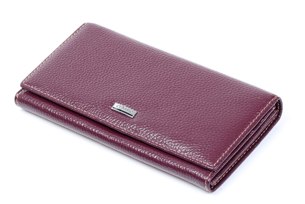 Long Wallet Women Purple Cowhide Real Genuine Leather ...