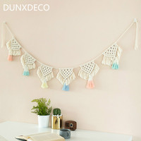 DUNXDECO Home Decoration Accessories Bohemia Handmade Weaving Ornament Nordic Fresh Simple Kid Room Wall Decoration Hanging