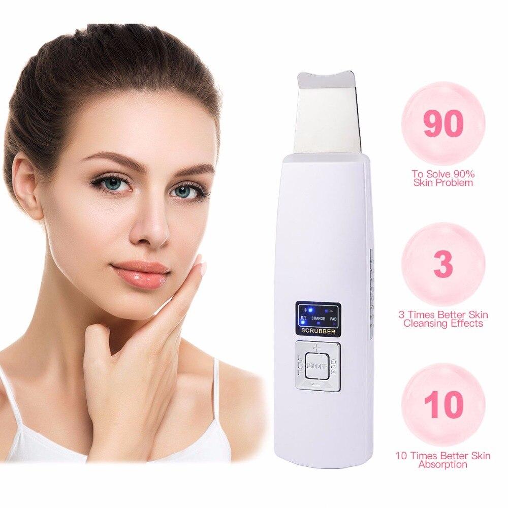 Ultrasonido Ion Skin Scrubber piel Facial ultrasónico limpiador Blackhead Removal cara Peeling Extractor belleza de la piel