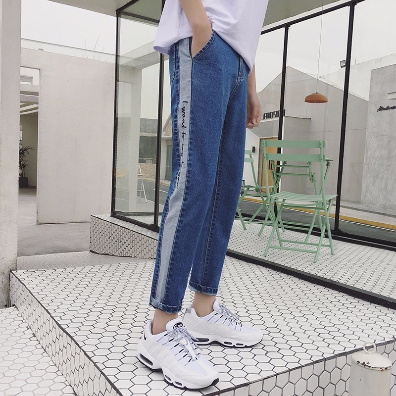 18 Korean Style Mens Fashion Trend Embroidery Ankel-length Casual Pants Skinny Blue Jeans Stretch Slim Fit Homme Trousers28-34