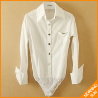Womens Tops Fashion 2014 Hot Sale China Air Express Long Sleeve Solid Color White Silver Button