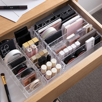 Clear Acrylic Makeup Organizer CC Cream Storage Box organizador maquillaje Plastic Cosmetic Holder Cabinet Powder Display Box drawer makeup organizer cosmetics storage box organizador maquillaje transparent plastic box lipstick jewelry display stand