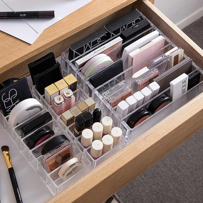 Clear Acrylic Makeup Organizer CC Cream Storage Box organizador maquillaje Plastic Cosmetic Holder Cabinet Powder Display Box