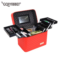 New 2019 High Quality Korea four open Professional Makeup Organizer Cosmetic Case Travel Large Capacity Storage Bag Suitcases
