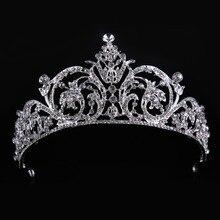 High Quality Crystal Glass Fashion Tiara Crown Woman Hair Jewelry Romantic Wedding Crown Hairwear Bride Accessories CY161117-136