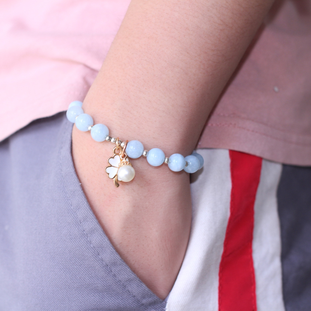 8MM Fashion single alloy simple natural sea blue stone ladies bracelet business Christmas gift high quality