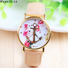 Women's Fashion Leather Floral Printed Anchor Quartz Dress Wrist Watch Free Shipping