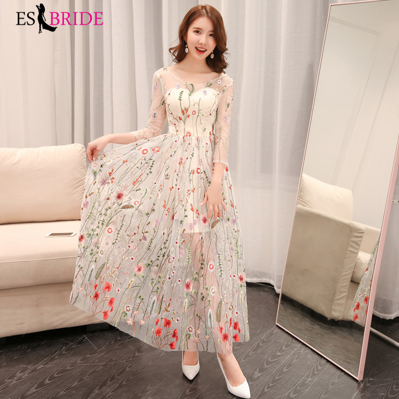 Casual Round Collar Long   Evening     Dresses   for Women Elegant Formal Half Sleeve Fashion Party   Evening     Dresses   Plus Size ES1555