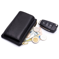 Key Organizer Holder Real Leather Key Bag Lady Purse Women Wallets Housekeeper Credit Card Holder Coin