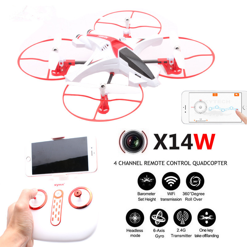 Фотография New X14W WIFI FPV RC Drone with HD camera one-key taking off & land 2.4G 4ch 6 axis wifi real time transmossion RC Quadrocopter