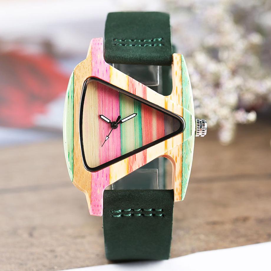 Creative Women Wood Watches Unique Colorful Wooden Triangle Hollow Quartz Wristwatch Ladies Elegant Fashion Genuine Leather Hour (7)