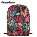 New 2016 fashion printing canvas backpack Leaves flowers skateboard backpack preppy style schoolbag women travel shoulder bag