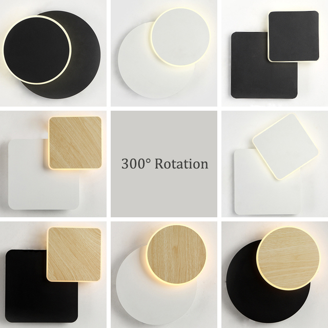 Modern Creativity LED Wall Lamp 300 Degree Rotation Round/Square LED Wall Lights For Living room Bedroom Aisle Bedside AC85-265V