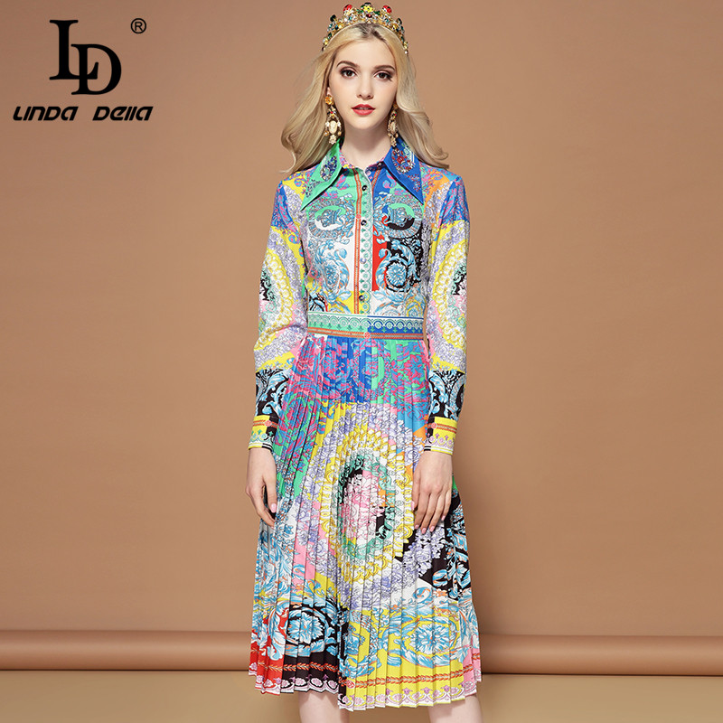 LD LINDA DELLA Fashion Runway Autumn Dress Women s Long Sleeve A Line Multicolor Floral Print