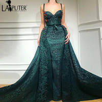 fba69d32fa82 LAIPUTER 2018 Straps Sweetheart Neck Dark Green Arabic Evening Dresses  Colorful Flower Removable Train Prom Party