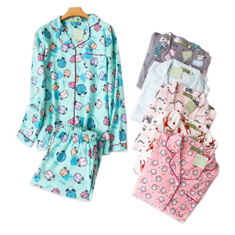 Plus Size Cute Cartoon Women Pajama Sets 100% Brushed Cotton Autumn Long Sleeve Warm Sleepwear Pyjamas Women Winter Pijama