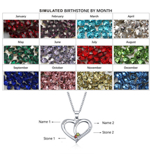 Personalized Name DIY Heart Birthstone Necklaces