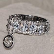 Новое поступление, винтажные Свадебные кольца с кристаллами розового золота и серебра для женщин, роскошное обручальное кольцо с белым цирконием, ювелирное изделие в подарок