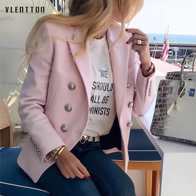 2019 New Fashion Blazer Women Lion Buttons Double Breasted Long Sleeve Women's Jacke Spring Autumn Elegant Office Blazer Femme
