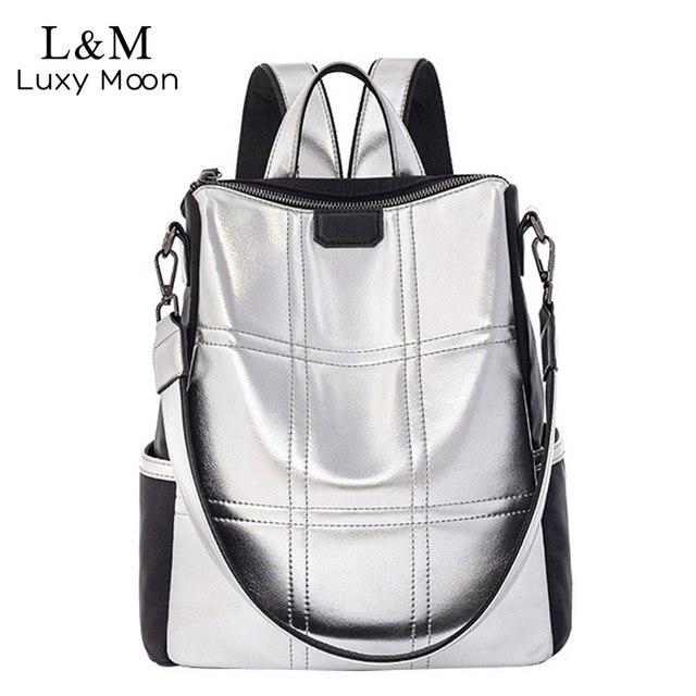 حقيبة جلدية فضية للنساء حقيبة ظهر مرقعة حقيبة ظهر أنيقة للسيدات ماركة كورية مضادة للسرقة حقيبة ظهر mochila XA432H