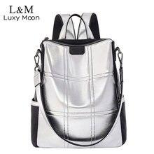 Silber Leder Tasche Frauen Rucksack Patchwork Bagpack Elegante Damen Marke Koreanische Anti Diebstahl Rucksack mochila XA432H