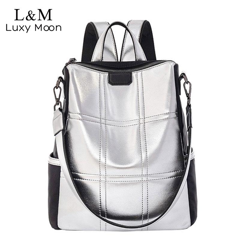 Silver Leather Bag Women Backpack Patchwork Bagpack Elegant Ladies Brand Korean Anti Theft Backpack  Mochila XA432H