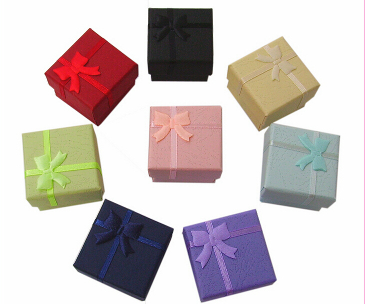 Paper Jewelry Boxes 24pcs Mixed Color 4*4*3cm Ring/earring Packaging Boxes ,Free Shipping