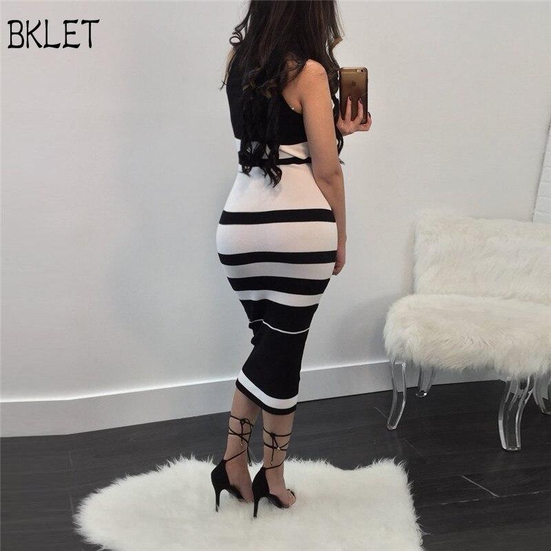 Платье миди Elegante высокое качество Для женщин 2018 пикантные черные сапоги и белый полосатый облегающее Бандажное Платье район спинки