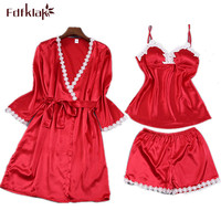 Fdfklak Lingerie Sexy 2017 Spring Aummer New Faux Silk 3 Pieces Ladies' Bathrobes Lace Gown And Nightgown Kits Robes Sexy Q421