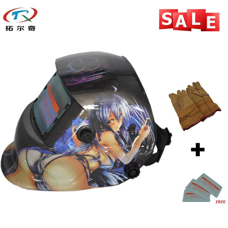 Hot Sexy Girl Mask Adjustable Replaceable Battery Welder Mask Industrial Cheap Solar Grinding Welding Helmet TRQ HD45 2233FF YG
