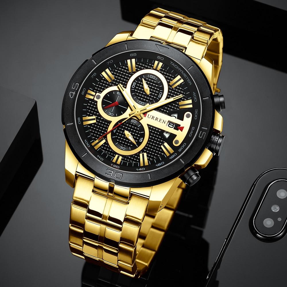 Image 4 - CURREN Элитный бренд Нержавеющаясталь спортивные часы Для мужчин Новый хронограф Наручные часы модные Повседневное Дата кварцевые часы Для мужчин s часыКварцевые часы   -