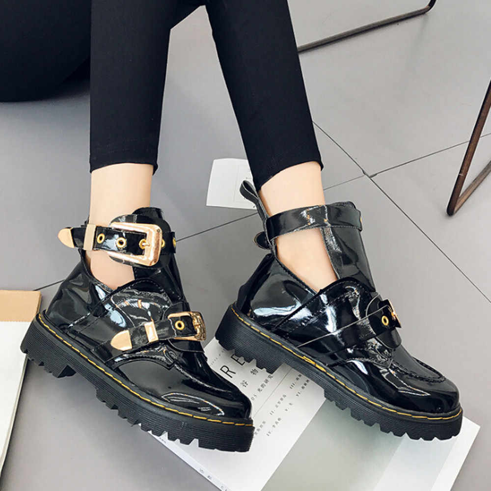 Punk Women's Martin Boots Leather Autumn Motorcycle Boot Low Heel Buckle Shoes Waterproof Platform Stylish Botas Mujer Party