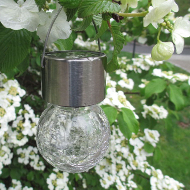 4Pcs/ Pack LED Color-changing Solar Hanging Light Crackle Glass Globe Lights Christmas Decor Lighting for Garden Fence