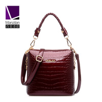 MANZILAN Brand Luxury Alligator Patent Leather Women Bag Summer And Autumn Shoulder Crossbody Bag Fashion Women