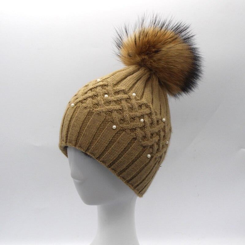 Կանացի մորթուց Pompom Hat Տիկնայք - Հագուստի պարագաներ - Լուսանկար 5