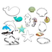 Childrens Day Marine Life Cookie Cutter Stainless Steel Fondant Baking Mold Biscuit Mould Printing Tools