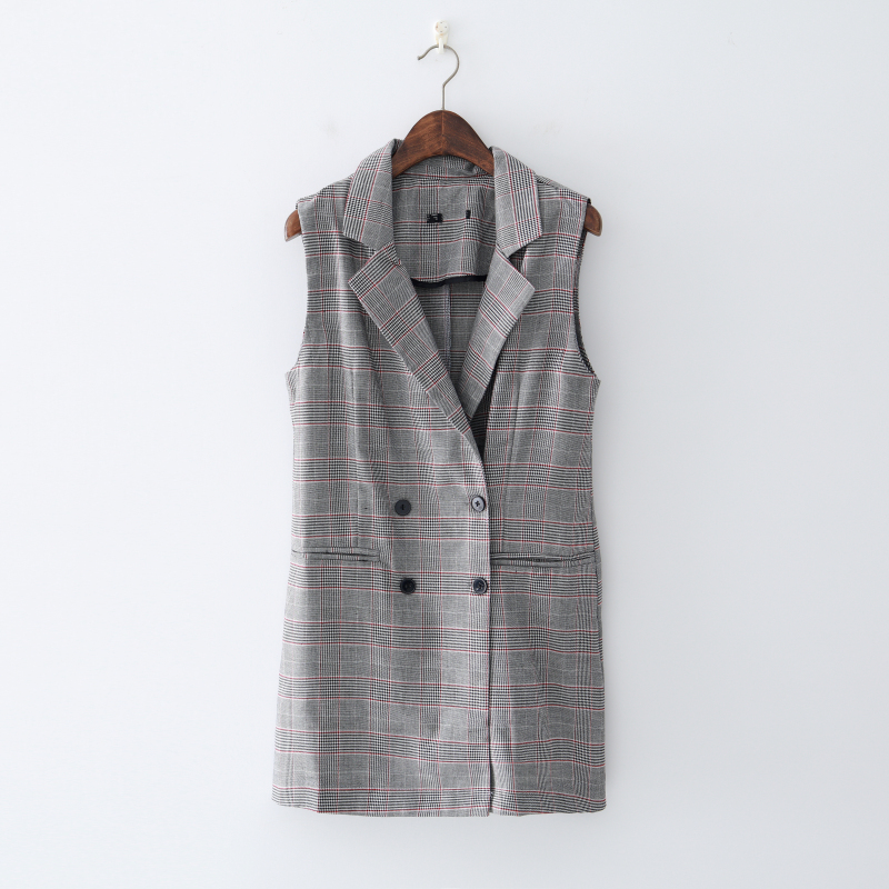 2019 Latest Design New Fall And Summer Women's Shoulders, Double-breasted Checked Vest, Sleeveless Suit Collar Jacket In Many Styles