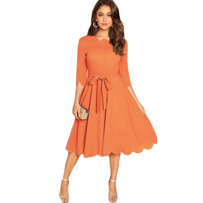 Sheinside Elegant Scallop Edge Bodycon Dress Women Burgundy 3/4 Sleeve Solid Pencil Dresses Woman Party Night Ladies Midi Dress 43