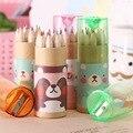 12 шт. милые Мультяшные мини цветные карандаши с рисунком медведя с точилкой для карандашей Kawaii канцелярские карандаши для рисования для детей школьные принадлежности - фото