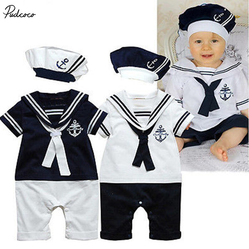 2017 NEW Baby Boy Girl Sailor Costume Suit Grow Outfit Romper Pants Clothes+HAT 0-24M