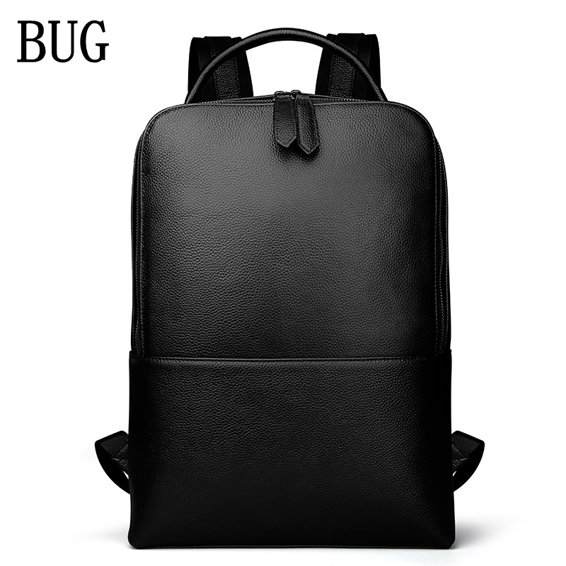 BUG Genuine Leather Backpack New Fashion Men Luxury High Quality Waterproof Laptop Messenger Travel Backpack 15.6 School Bag padieoe 2017 genuine leather new fashion men luxury male bag high quality waterproof laptop messenger travel backpack school bag