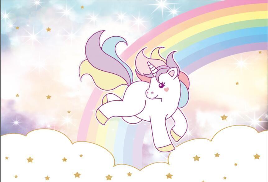 7x5FT Rainbow Clouds Sky Baby Unicorn Shower Gold Stars ...