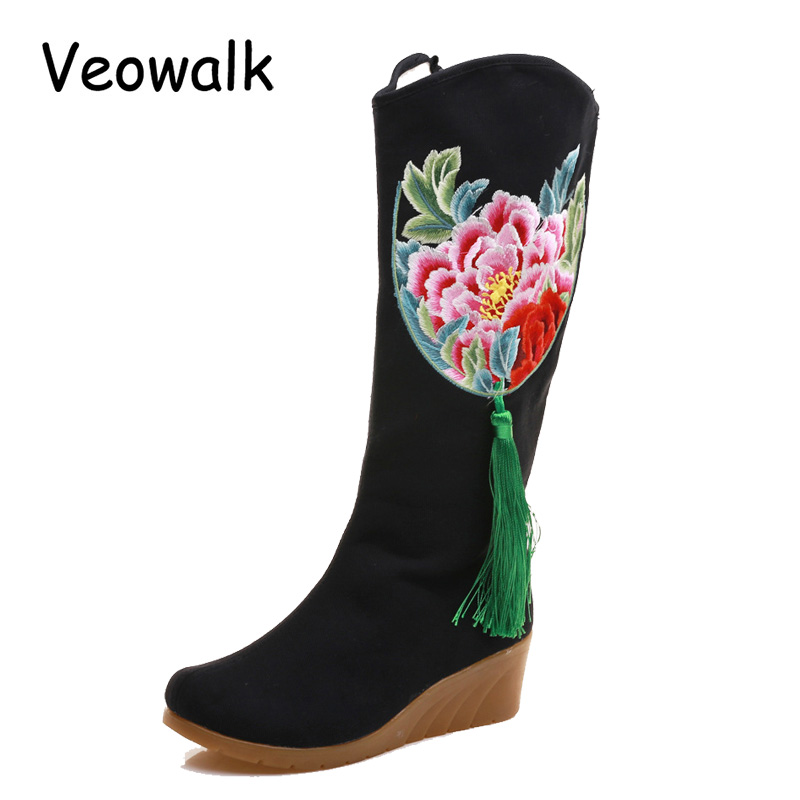 Veowalk Flowers Embroidered Tassel Women's Canvas Mid Boots Zip up Hidden Wedges Heel Ladies 30cm Tall Booties Botas Mujer Black embroidered faux leather zip up jacket