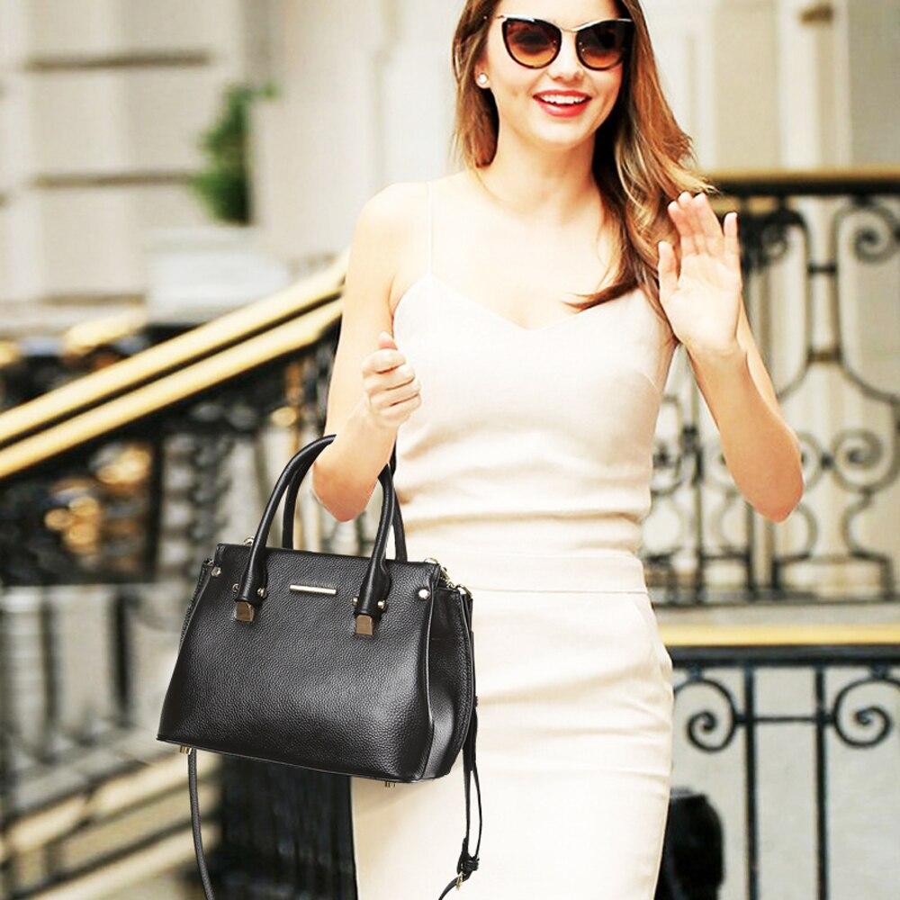 JIANXIU جلد طبيعي اليد الإناث الكتف أكياس Crossbody للنساء حقيبة يد جلدية السيدات حقيبة ساعي كبير الأعلى مقبض حقيبة-في حقائب الكتف من حقائب وأمتعة على  مجموعة 2
